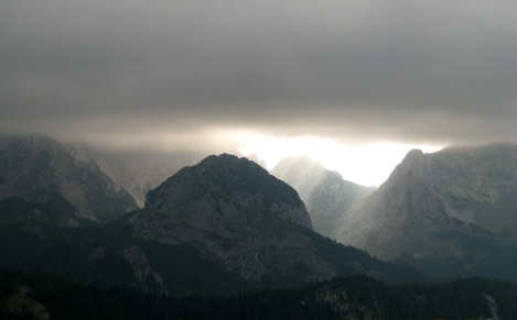 clouds over the mountaintops